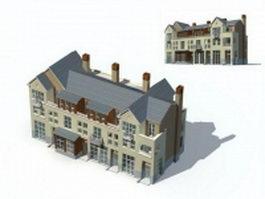 Three story villa building 3d model preview