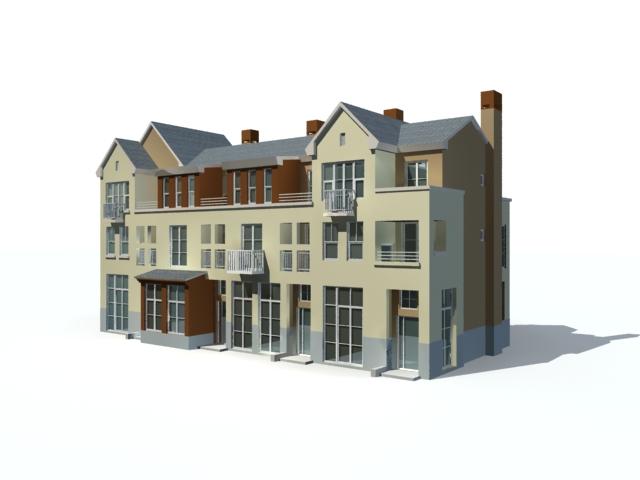 Three story villa building 3d rendering