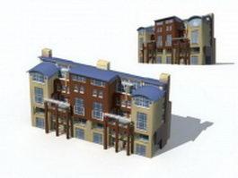 Modern townhouse exterior 3d preview