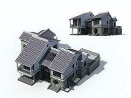 Chinese style villa architecture 3d model preview