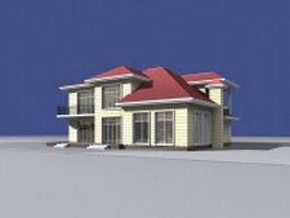 Seaside villa building 3d model preview