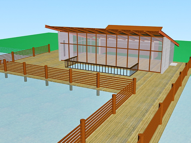 Lakeside pavilion architecture 3d rendering