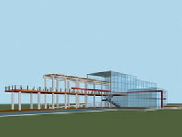 Glass architecture building with walkway 3d preview