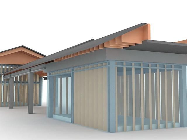 Glass park shelter 3d rendering