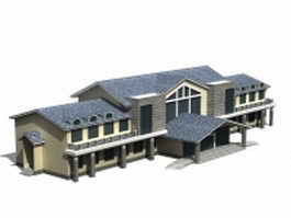 Chinese style guesthouse hotel 3d preview