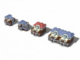 Various house type buildings 3d preview