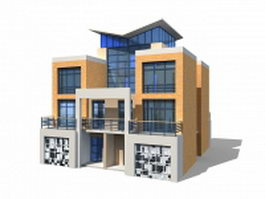 Modern townhouse with garage 3d preview
