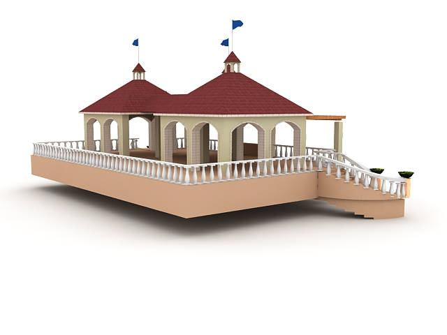 Covered viewing deck 3d rendering