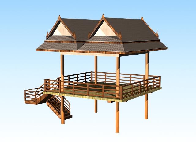 Lake gazebo 3d rendering