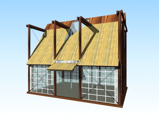 Garden shed greenhouse 3d rendering