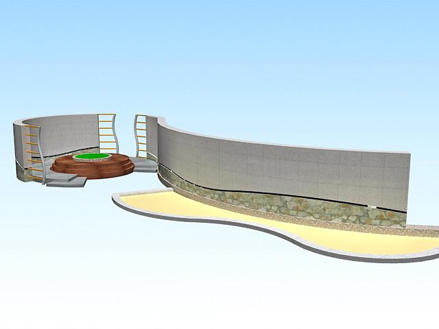 Park landscape structures 3d rendering