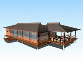 Chinese lakeside viewing pavilions 3d preview