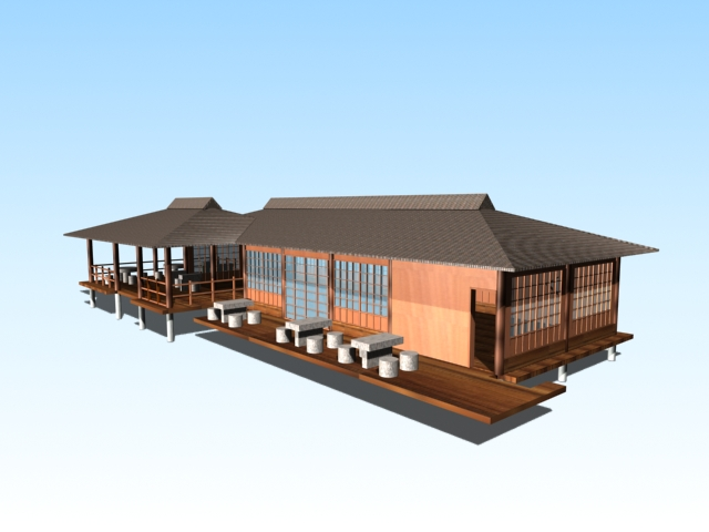 Chinese lakeside viewing pavilions 3d rendering