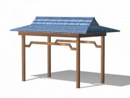 Patio garden gazebo 3d model preview