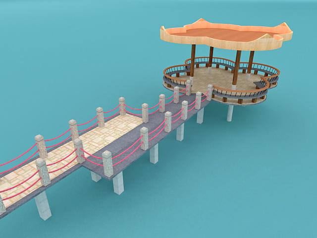 Lake deck wiewing platform 3d rendering
