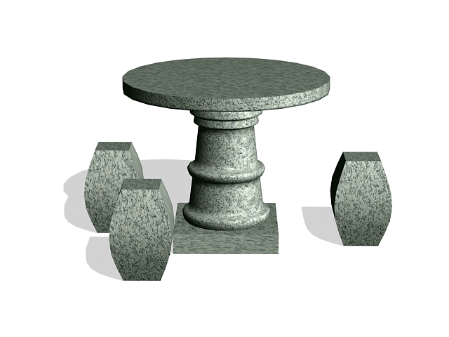 Granite outdoor table and stool 3d rendering