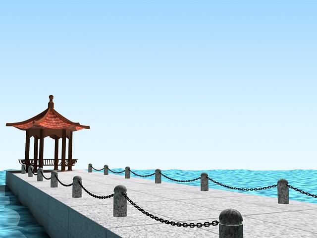 Pier with gazebo 3d rendering