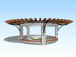 Round garden pergola 3d model preview