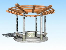 Wishing well with pergola 3d preview