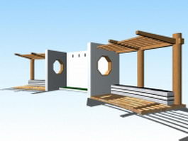 Japanese garden pergola structure 3d preview