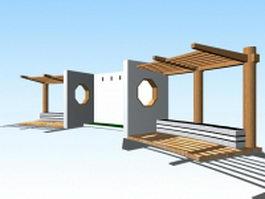 Japanese garden pergola structure 3d model preview