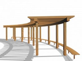 Wood pergola with bench 3d preview