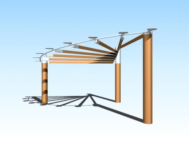 Pergola shade structure 3d rendering