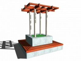 Bench around pergola 3d preview