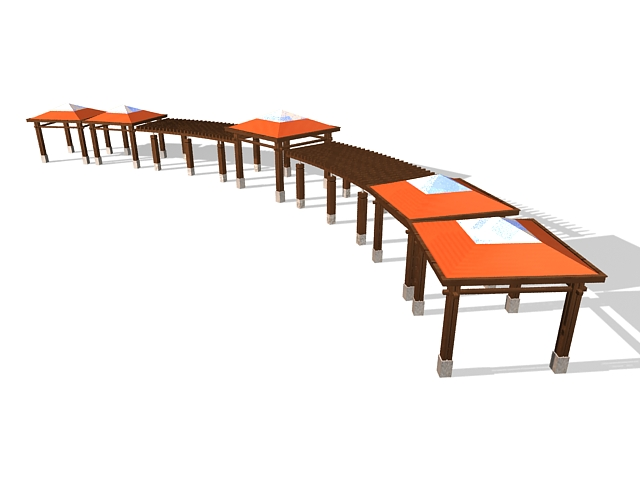 Wood pergola and canopy 3d rendering