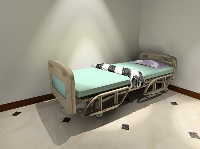 Wheeled hospital bed 3d rendering