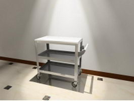Hospital utility cart with wheels 3d preview