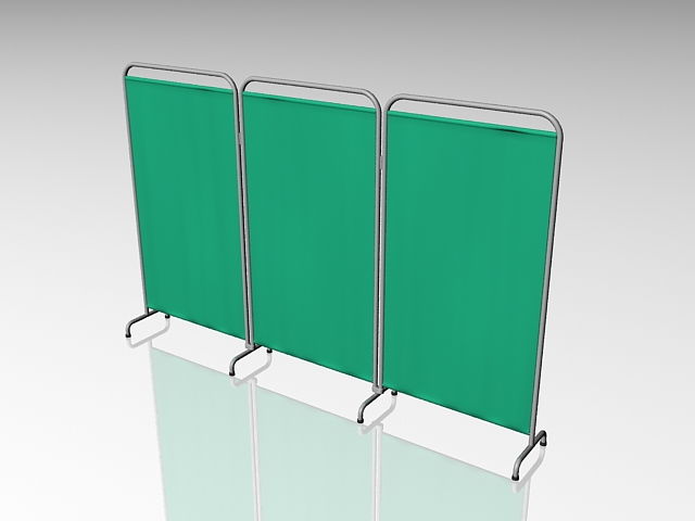 Hospital room divider screen 3d rendering