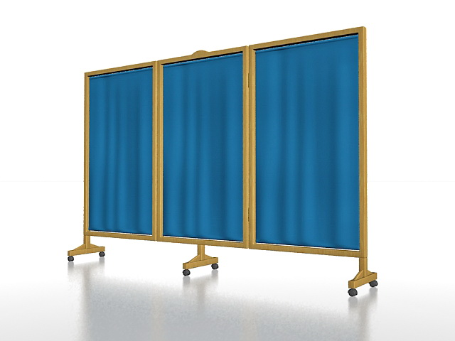 Portable hospital privacy screens 3d rendering