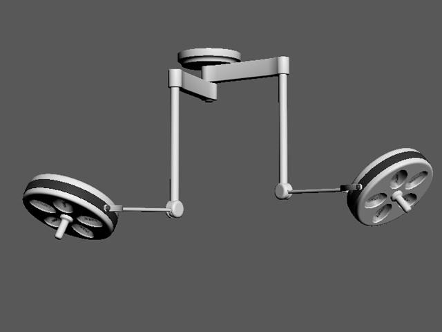 Ceiling mount surgical lights 3d rendering