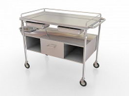Stainless steel medical cart 3d preview