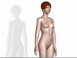 Naked human girl 3d model preview