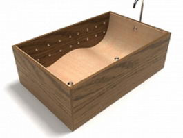 Wood bathtub with faucet 3d preview