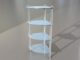Bathroom corner glass shelf 3d preview