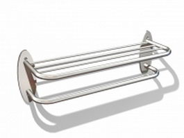 Double shelf towel rack 3d preview