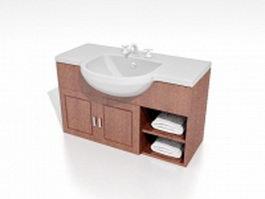 Single bathroom vanity 3d preview