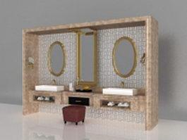 Luxury bathroom vanity furniture 3d preview