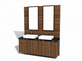 Double bathroom vanity 3d model preview