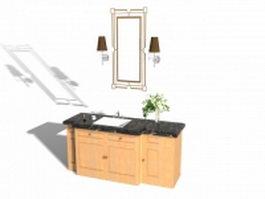 Single bathroom vanity black marble top 3d model preview