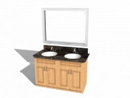 Double sink bathroom vanities 3d preview