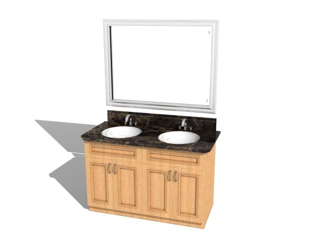 Double sink bathroom vanities 3d rendering