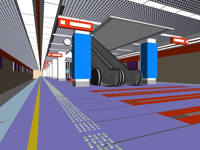 Underground subway station 3d rendering