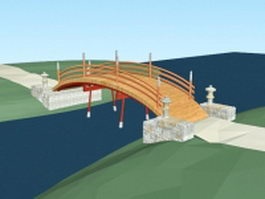 Stone and wood bridge 3d preview