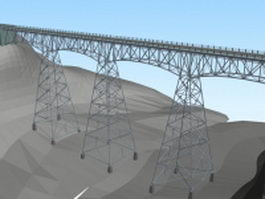 Iron highway bridge 3d preview