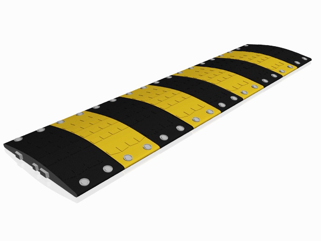 Metal speed bump 3d rendering