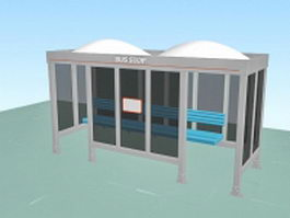 Glass bus stop shelter 3d preview